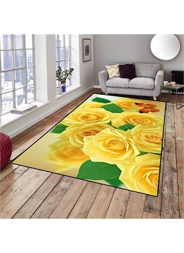 Halı Sarı Güllü Salon Mutfak Halıları 130X180 Renkli